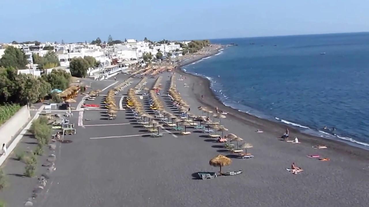 KAMARI black beach - SANTORINI GREECE - YouTube