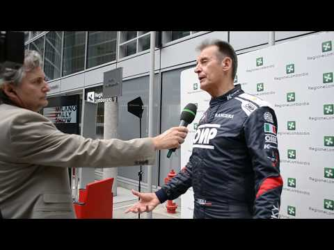 "Milano Rally Show. Interview to rally pilot called ""Lucky"" during the press conference."