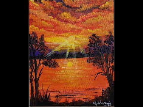 How To Paint Evening Sunset Landscape || Art || Simple Acrylic Painting Techniques