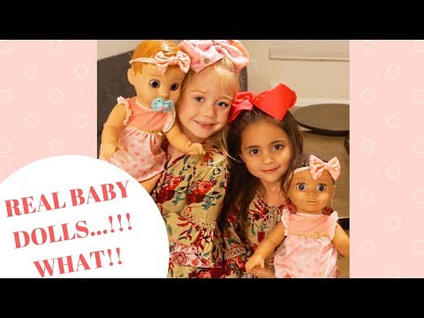 Everleigh Soutas and Ava Foley babysit twins luvaBella (REAL BABY DOLLS)