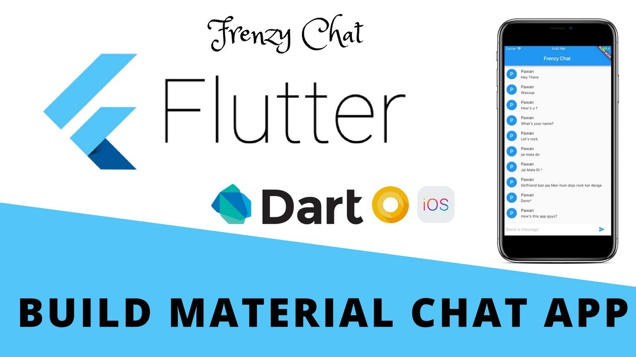 Flutter - Build Material Chat App | Frenzy Chat For Android & iOS | Design