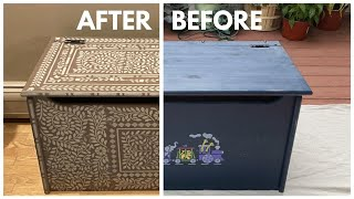 How To Stencil On Wood Chest With Inlay Stencil Kit