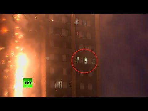 Trapped residents in flames & signaling for help at Grenfell Tower (DISTURBING)