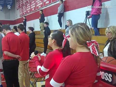 Bristol High School cheerleader Yashira Ocasio sings the Star Spangled Banner Jan. 27, 2017 before t