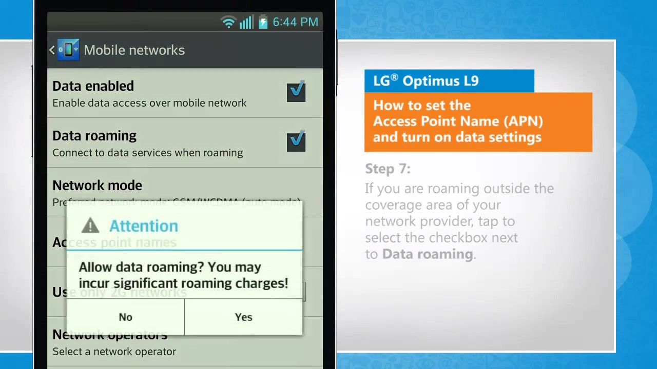 How to set the Access Point Name (APN) and turn on data settings in LG®  Optimus L9