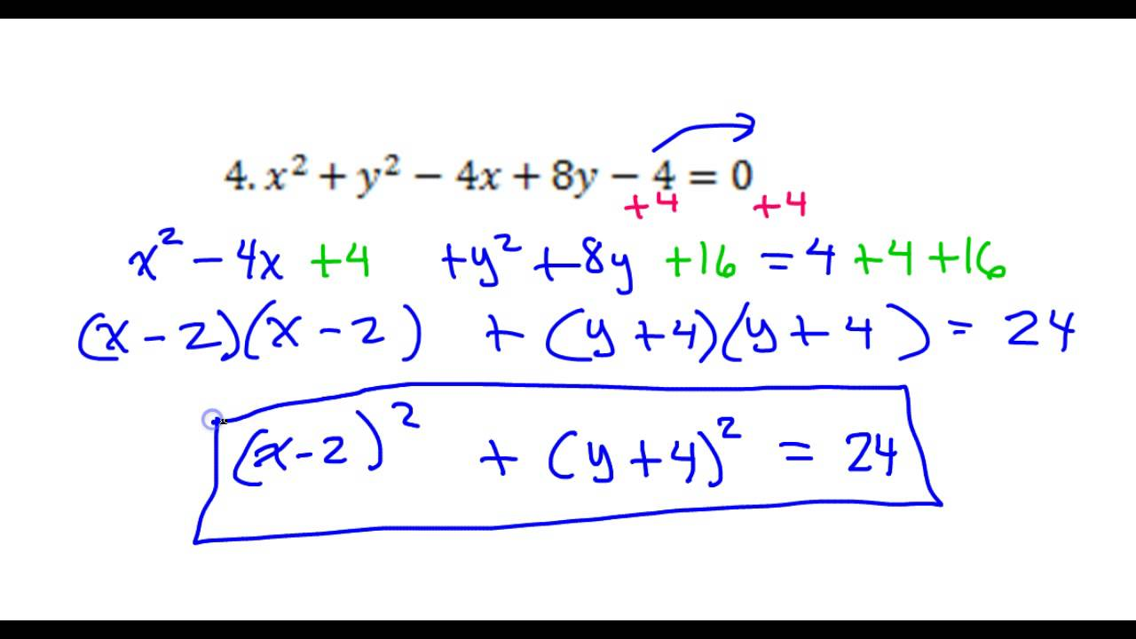 Day 12 Test C #4 and #5 Convert the Circle Equation from General ...