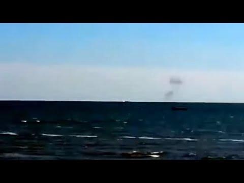 Ukraine War - Russian armed forces attack Ukrainian border guard boat near Mariupol Ukraine