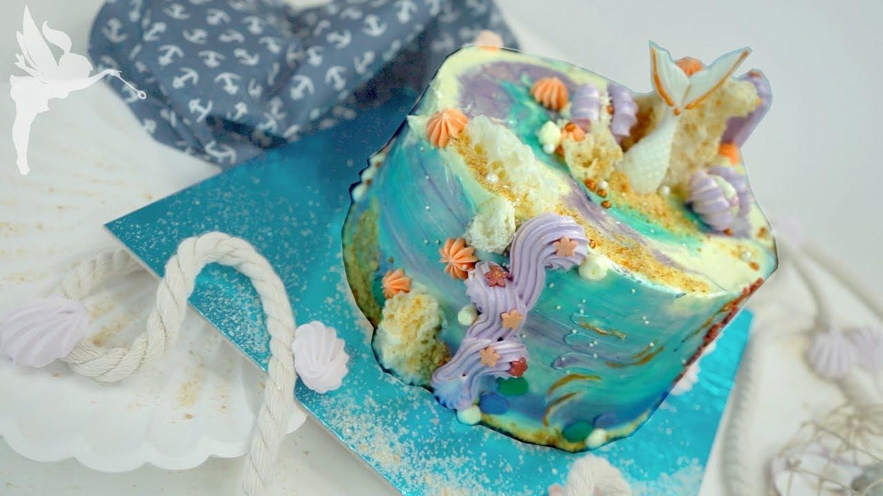 Meerjungfrauen Torte Ohne Fondant Mermaid Torte Mit Zuckerdekor