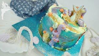 Meerjungfrauen Torte ohne Fondant - Mermaid Torte mit Zuckerdekor - DIY - Kuchenfee AD