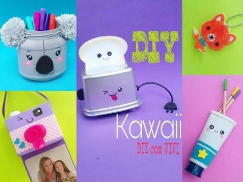 🐨DIY 10 ideias Kawaii com material reciclado/🐺 feat Poly Gonçalves