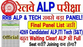 RRB ALP & TECH FINAL PANEL LIST जारी! 4269 Candidates,बहुत Waiting Clear! बाकि कब?