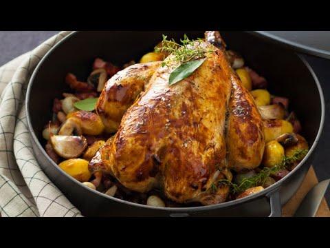 recette-:-poulet-rôti-en-cocotte,-garniture-grand-mère