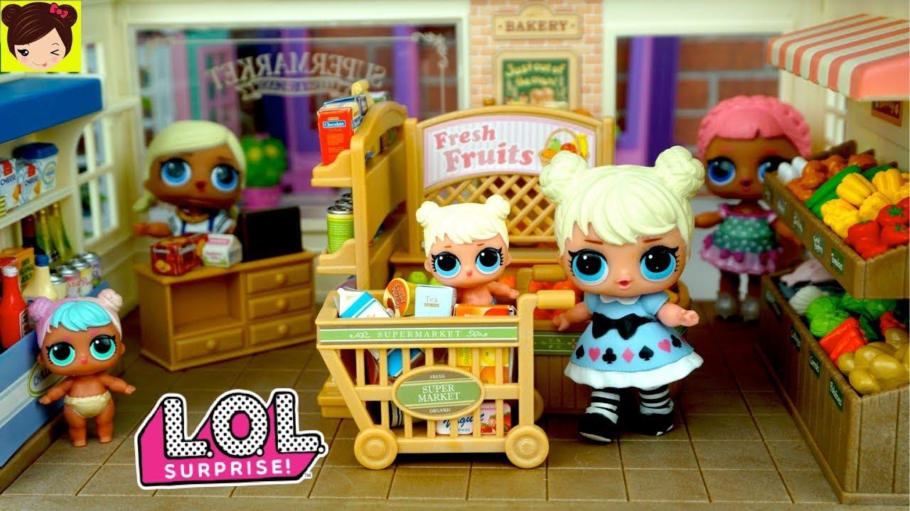 Muñecas lol sorpresa bebes comprando en el supermercado los
