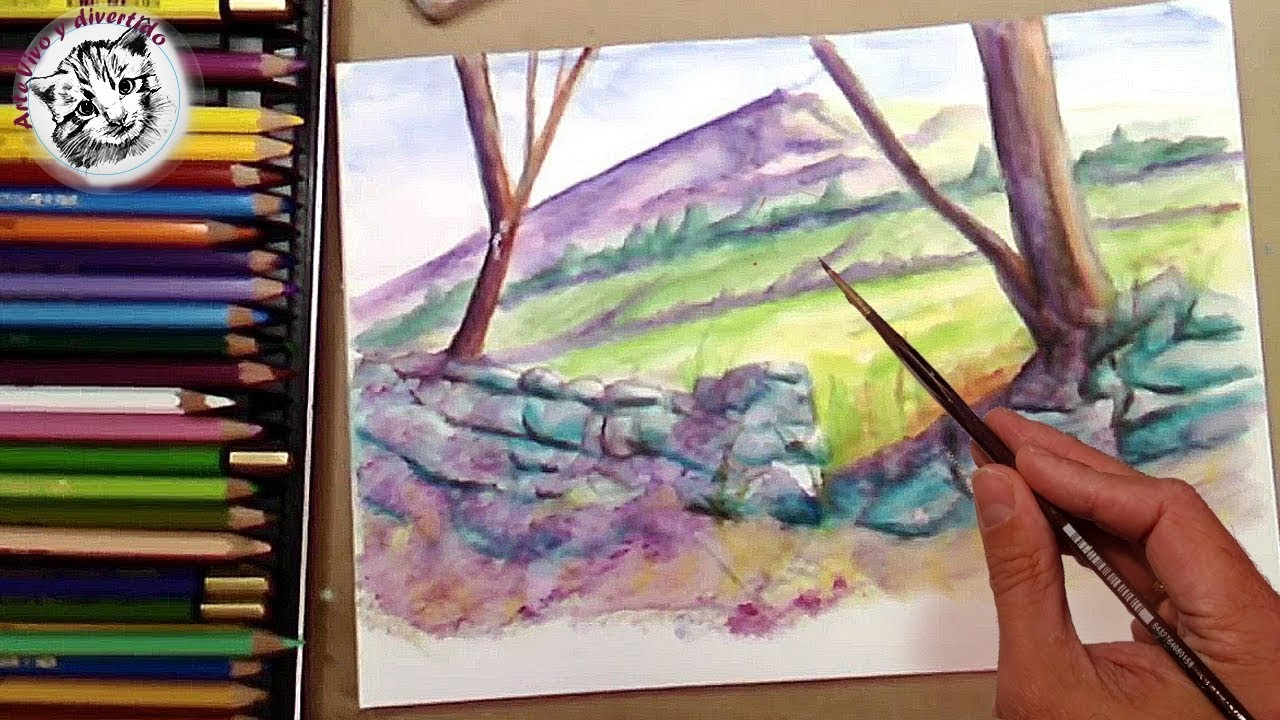 C mo pintar rocas con l pices acuarelables t cnica - Pintar con acrilicos paso a paso ...
