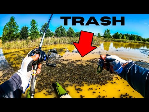 Fishing FLOODED Trash Lake For SURPRISE Big Bass!!!