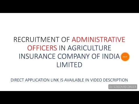 RECRUITMENT OF ADMINISTRATIVE OFFICERS (SCALE-I) IN AGRICULTURAL INSURANCE OF INDIA