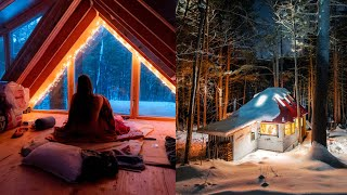 First Winter Overnight iฑ my Off Grid Cabin