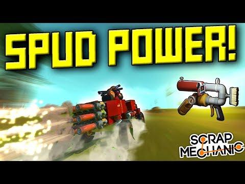 SPUD POWERED VEHICLES! Car and Flyer! [Spud Gun Update Ep 2] - Scrap Mechanic Gameplay