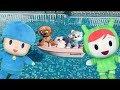 Pocoyo y nina español: juegos en piscina y cachorros paw patrol salvan un gatito.Videos de juguetes