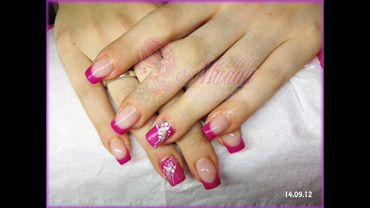 Nail Art - Monocolore E French Rosa Con Riga Glitter E Pois || Madda.fashion - YouTube