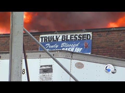 Massive fire destroys Cleveland trucking company