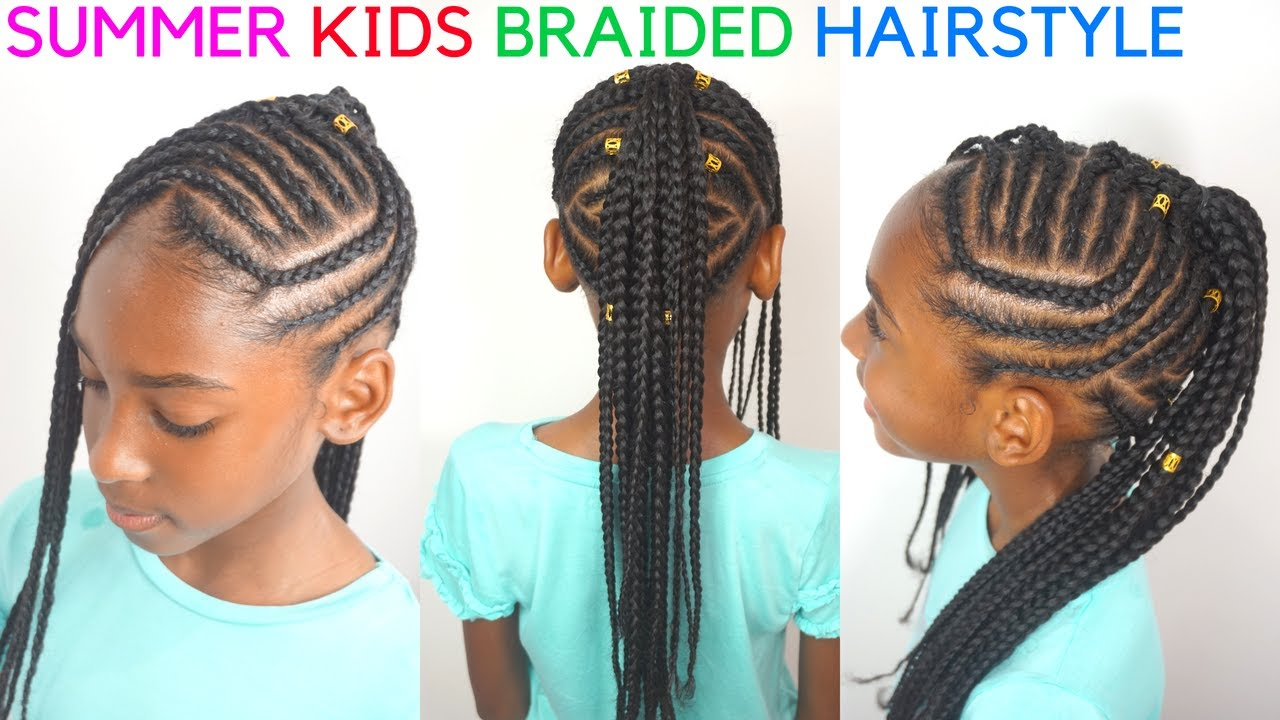 kids braided hairstyles tutorial | mohawk cornrows for kids
