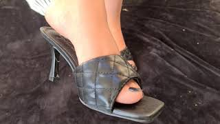 Mature feet in black high heels mules by Pipa Feet