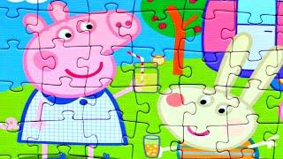 Свинка Пеппа на пикнике собираем пазлы для детей с героями мультика свинка пеппа