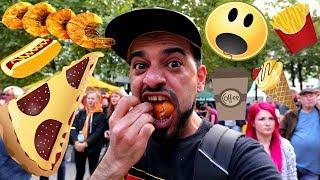 تحدي اكلات الشوارع الشعبية في كرنفال المدينة وتجربة انواع مختلفة من الطعام | فلوك | امير بروز