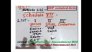 GST  101st Constitutional  Amendemnt Act 2016122 nd Amendment Bill CGST SGST