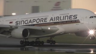 Singapore Airlines A380 London Heathrow airport Super Smooth Landing