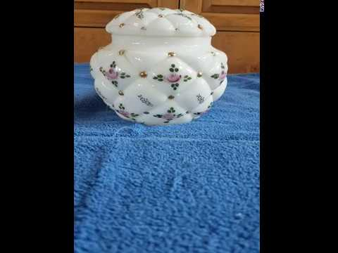 Antique Milk Glass Puffy Hand Painted Decorative Arts Large Powder Jar with Lid for sale