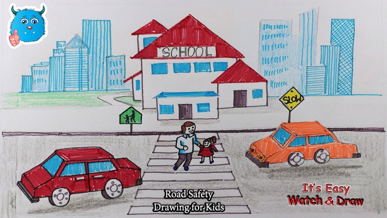 How to Draw My School with Road Safety Signs for Kids - YouTube