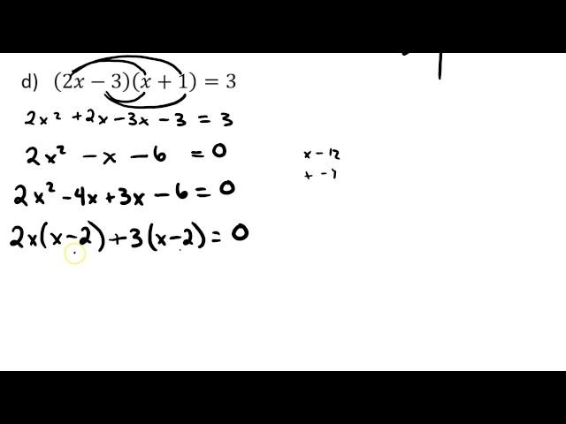 3 2   Solving Quadratics by factoring   2