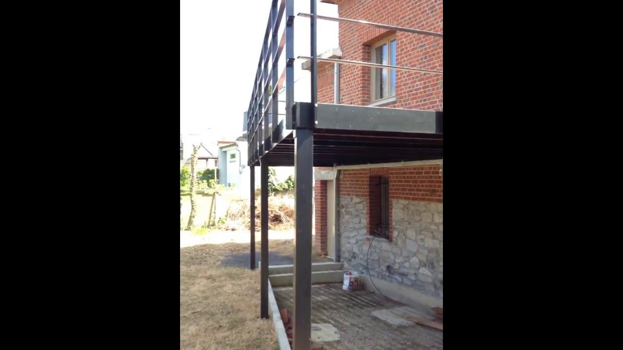 Terrasse Surélevée En Acier terrasse en acier et bois ipe - youtube
