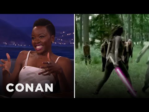 Danai Gurira Kicks Even More Ass With A Lightsaber   CONAN on TBS