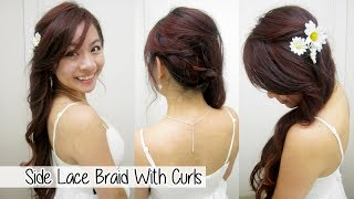 Side Lace Braid With Curls l Cute Homecoming/Prom Hairstyles