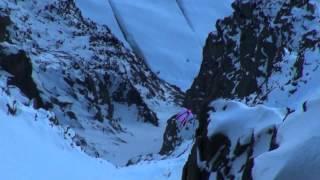 Aiguille du Midi Wingsuit in front of Mont Blanc 3842m to 1035m