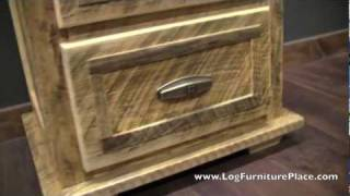 Rural Root 2 Drawer Barnwood Nightstand From Logfurnitureplace.com
