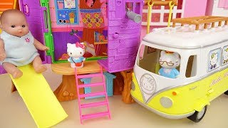 Tree house baby Doll and Hello Kitty camping car toys play