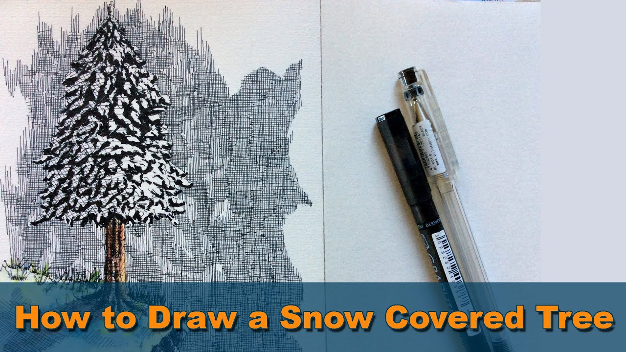 Draw everything | How to Draw a Snow Covered Tree - Pen ...