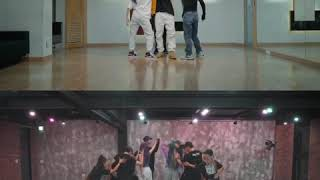 the difference between KARDs Gunshot dance (dancers and without)