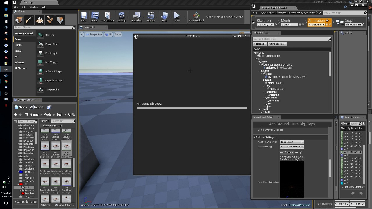 ADK Dino Resizing, Adding a socket and a particle system