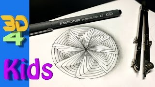 easy 3d for kids and beginners OPTICAL Illusion - Trick Art on paper