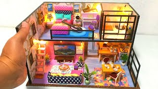 New 6 DIY Miniature Dollhouse Rooms Realistic complete set