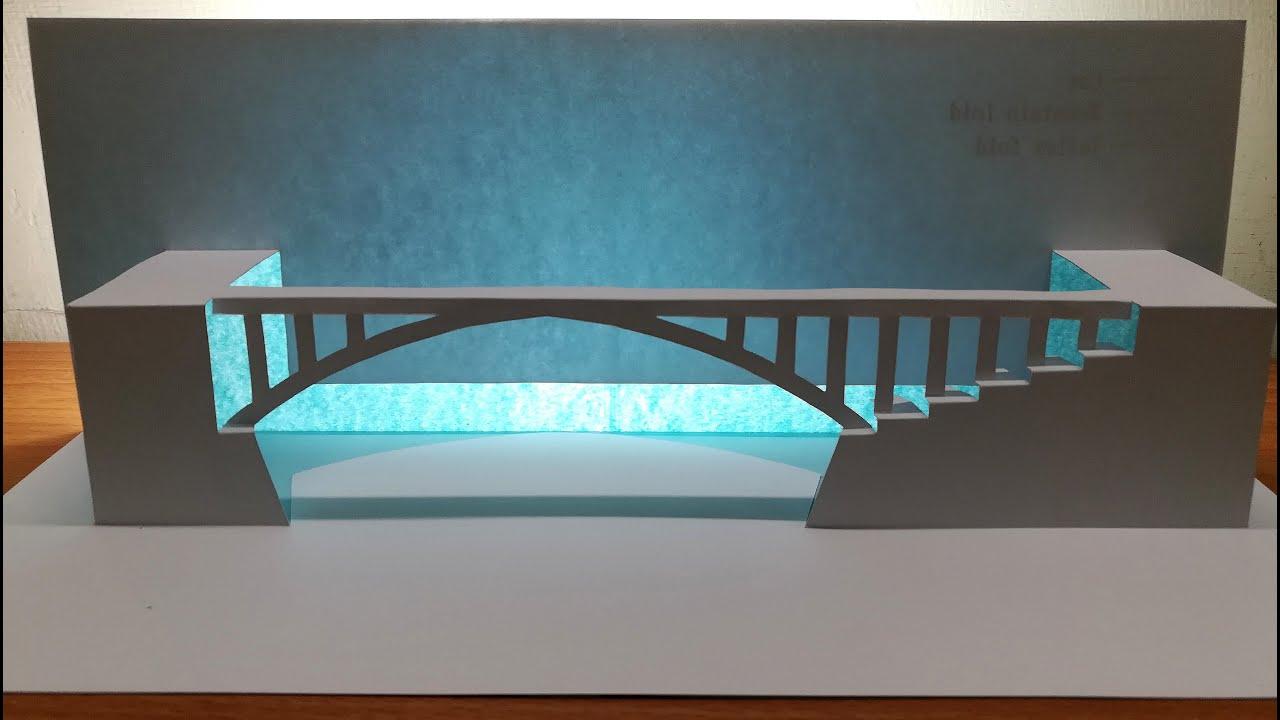 3d Salginatobel Bridge/Paper craft art/Paper Origami/Kirigami/Pop up card/3d薩爾吉納托貝爾橋
