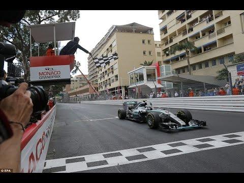 Rosberg crosses the line to win the Monaco Grand Prix