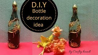 DIY bottle art / Antique floral pattern on bottle for beginners by Crafty hands