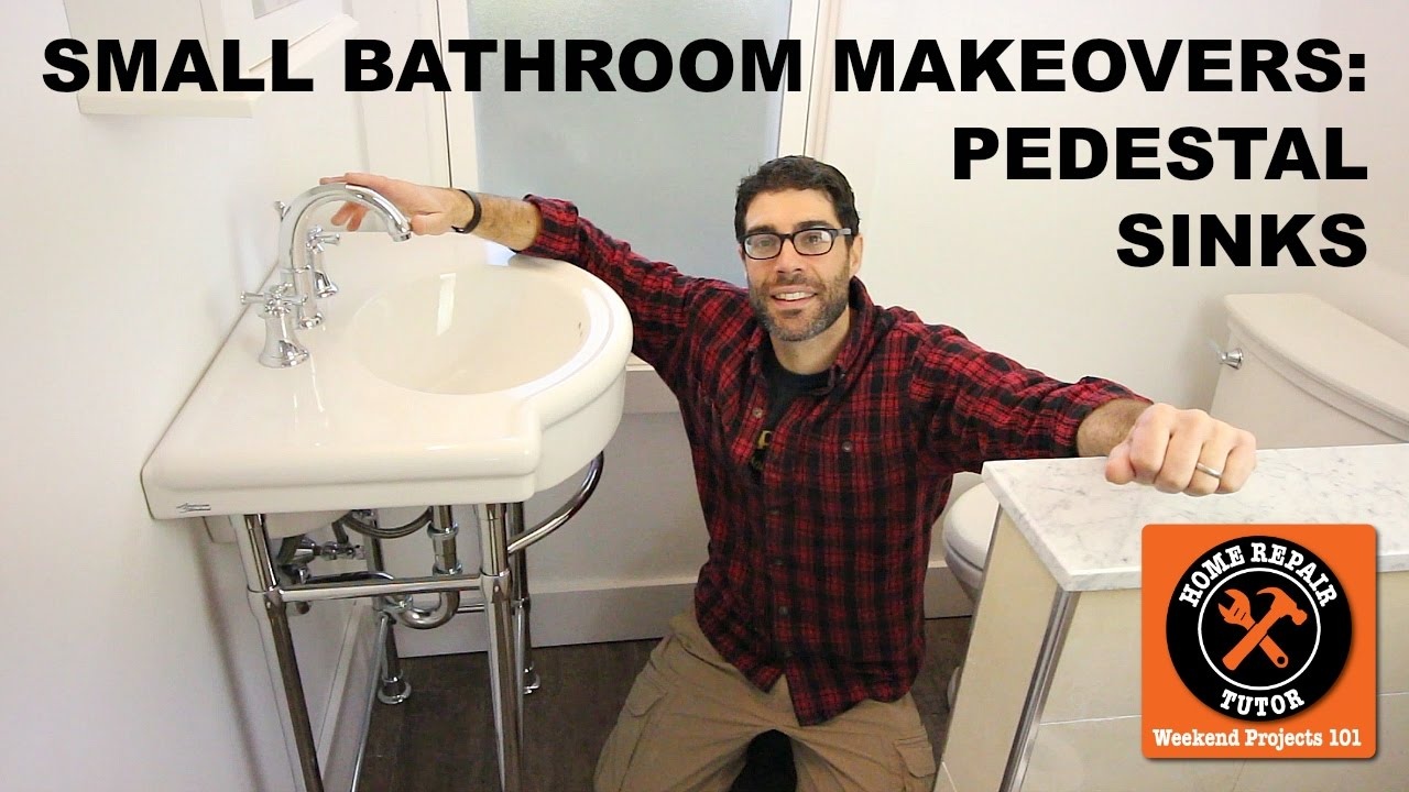Small Bathroom Makeovers Pedestal Sink Installation Step By
