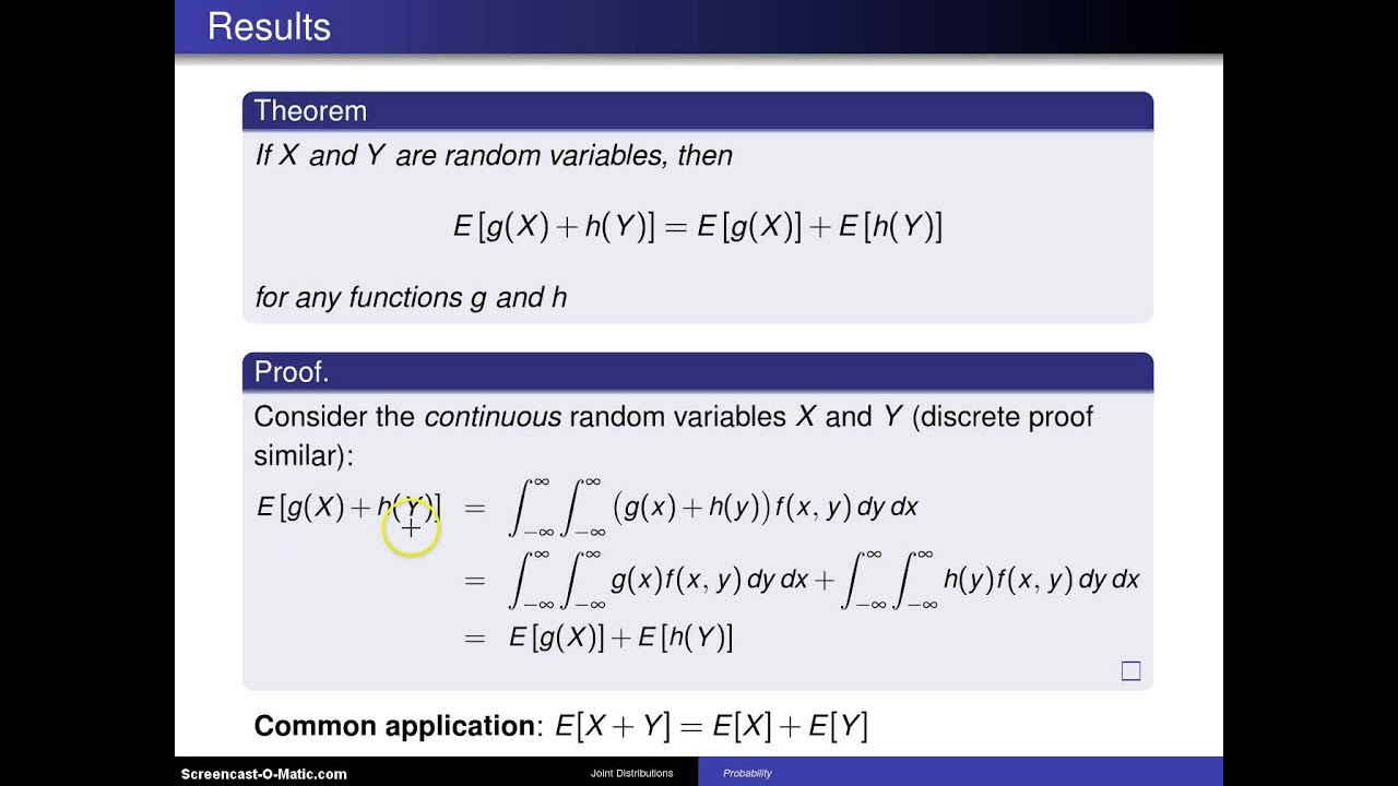 Bivariate random variables expected value E[g(X) + h(Y ...